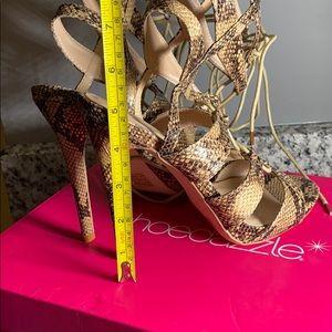 Shoe Dazzle Shoes - 💞Snake Skin Heeled Lace Up Sandal 💕